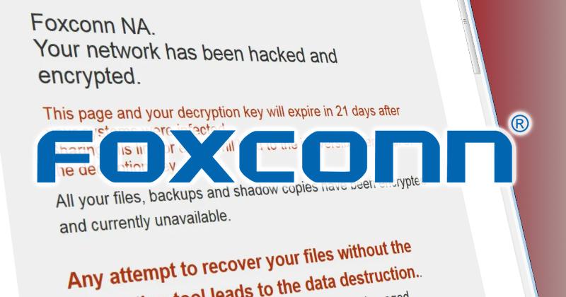 ក្រុមហ៊ុន Foxconn ត្រូវបានបំបែកឯតទគ្គកម្មដោយទទួលការវាយប្រហារតាមអ៊ីនធឺណិត និងគំរាមយកជាទឹកប្រាក់ចំនួន ៣៤ លានដុល្លារ