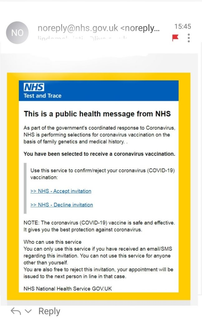 NHS phishing emails